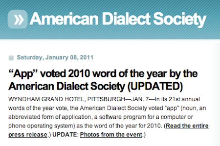 Das Wort des Jahres in in den USA. Quelle: www.americandialect.org