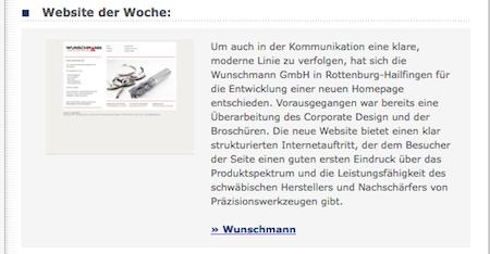 Website der Woche: Wunschmann. Screenshot: www.maschinewerkzeug.de