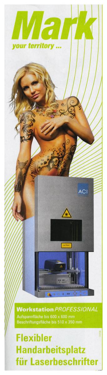 Anzeige für Lasermarkiergerät. Gesehen in technischem Fachmagazin.