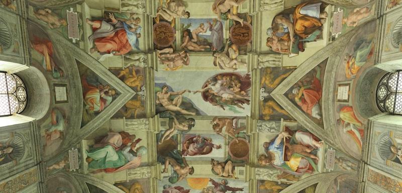 Deckenausschnitt der Sixtinische Kapelle in Rom. Quelle: www.vatican.va/various/cappelle/sistina_vr/index.html