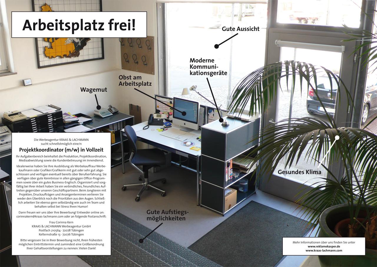 Arbeitsplatz frei. Bild: Kraas & Lachmann, 2012