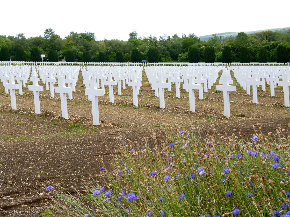 Aus den Feldern der Ehre sind riesige Felder der Trauer geworden. Soldatenfriedhof bei Verdun.