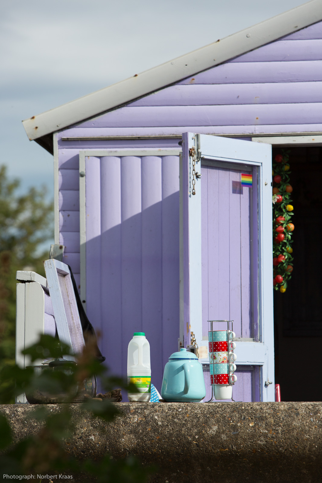Ready for a cuppa! Beach hut in Whitstable, Kent.
