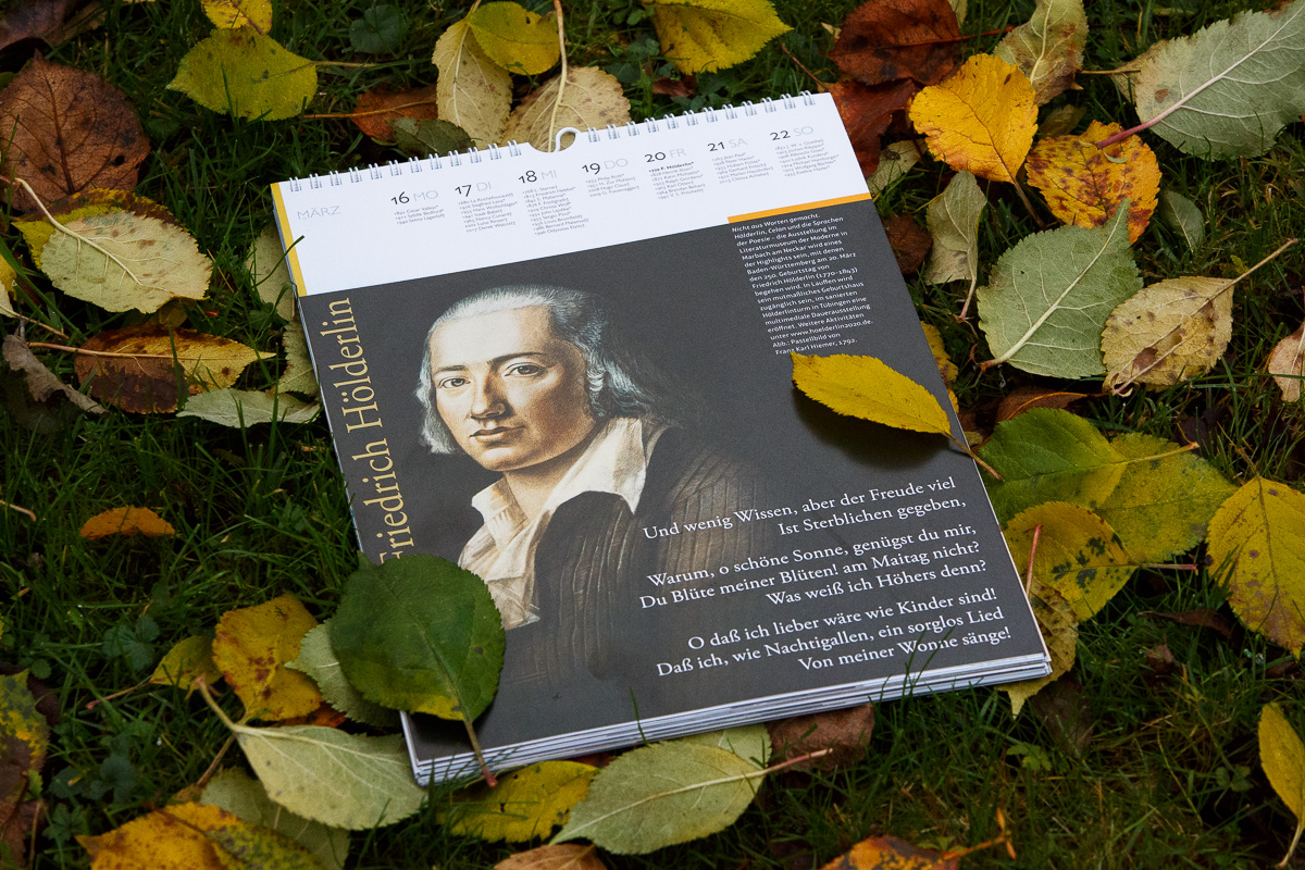 Der Literaturkalender 2020 mit Friedrich Hölderlin an seinem 250. Geburtstag am Freitag, den 20. März