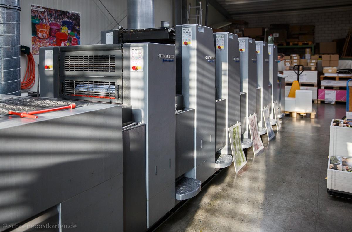 Auf dieser Heidelberger Druckmaschine werden unsere Schönen Postkarten gedruckt.