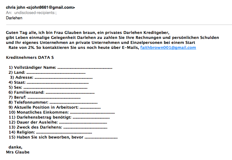 Direktmailing oder Satire. Screenshot: Kraas & Lachmann.