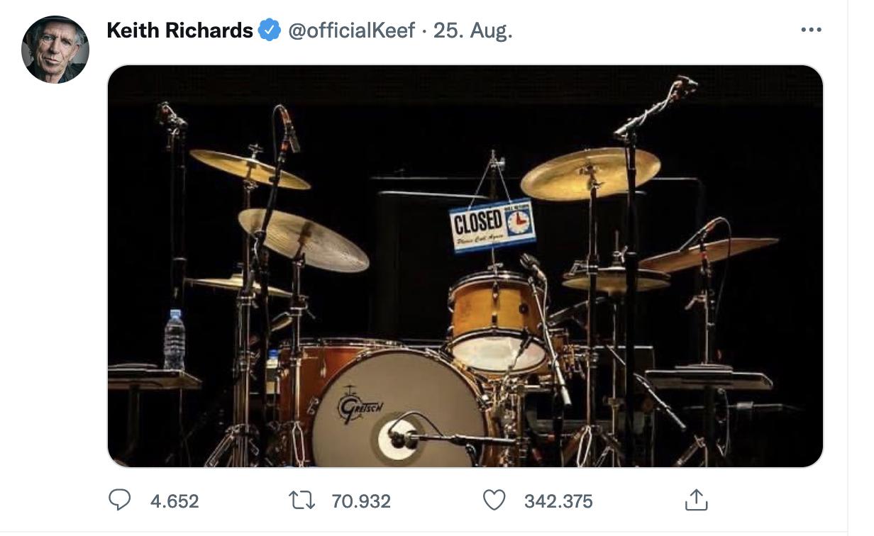 Screenshot OfficialTwitter Account of Keith Richards. Source: https://t1p.de/7sip