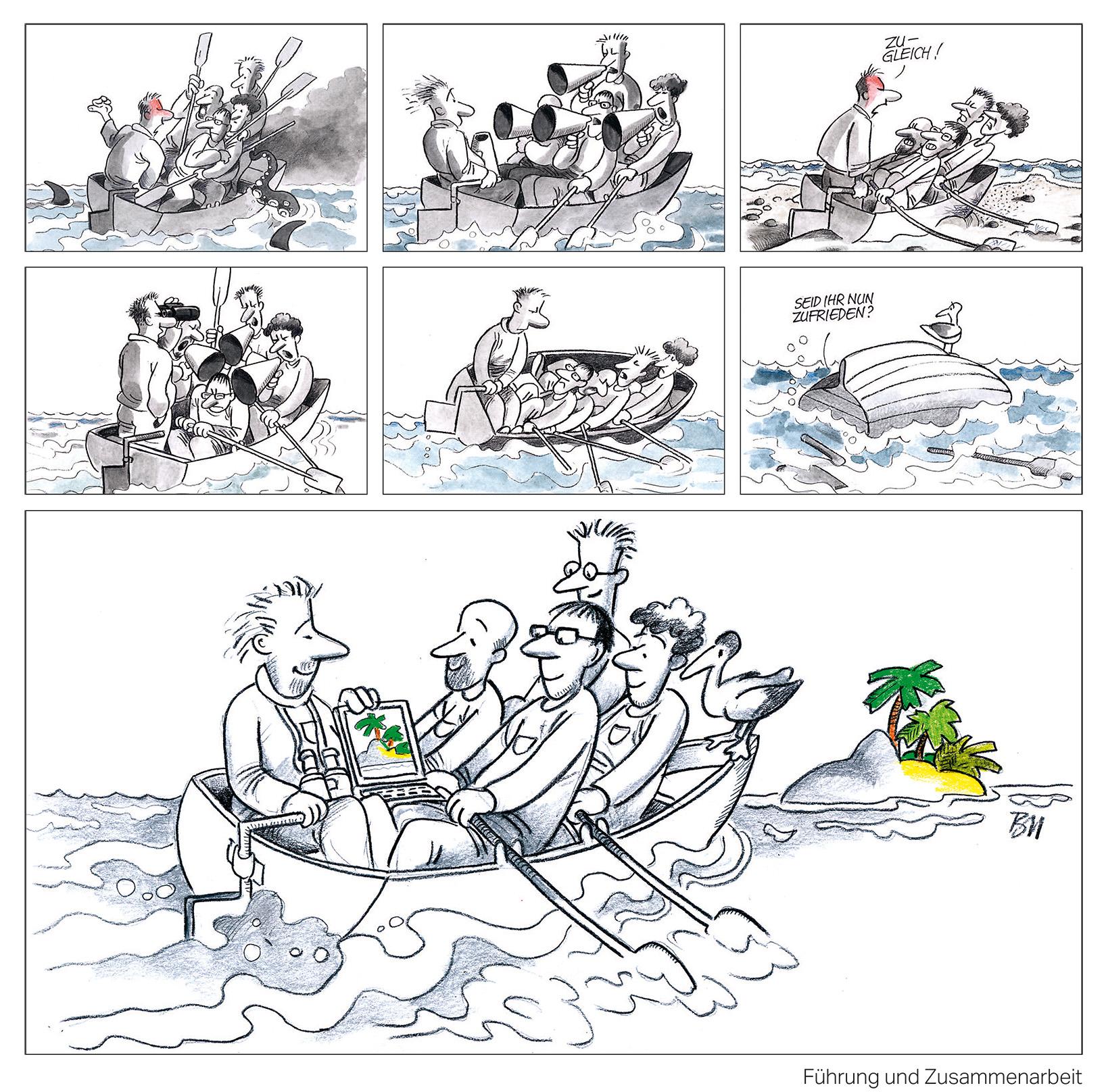 Jeder hat seine eigene Vorstellung von Führung. Illustration: Sepp Buchegger