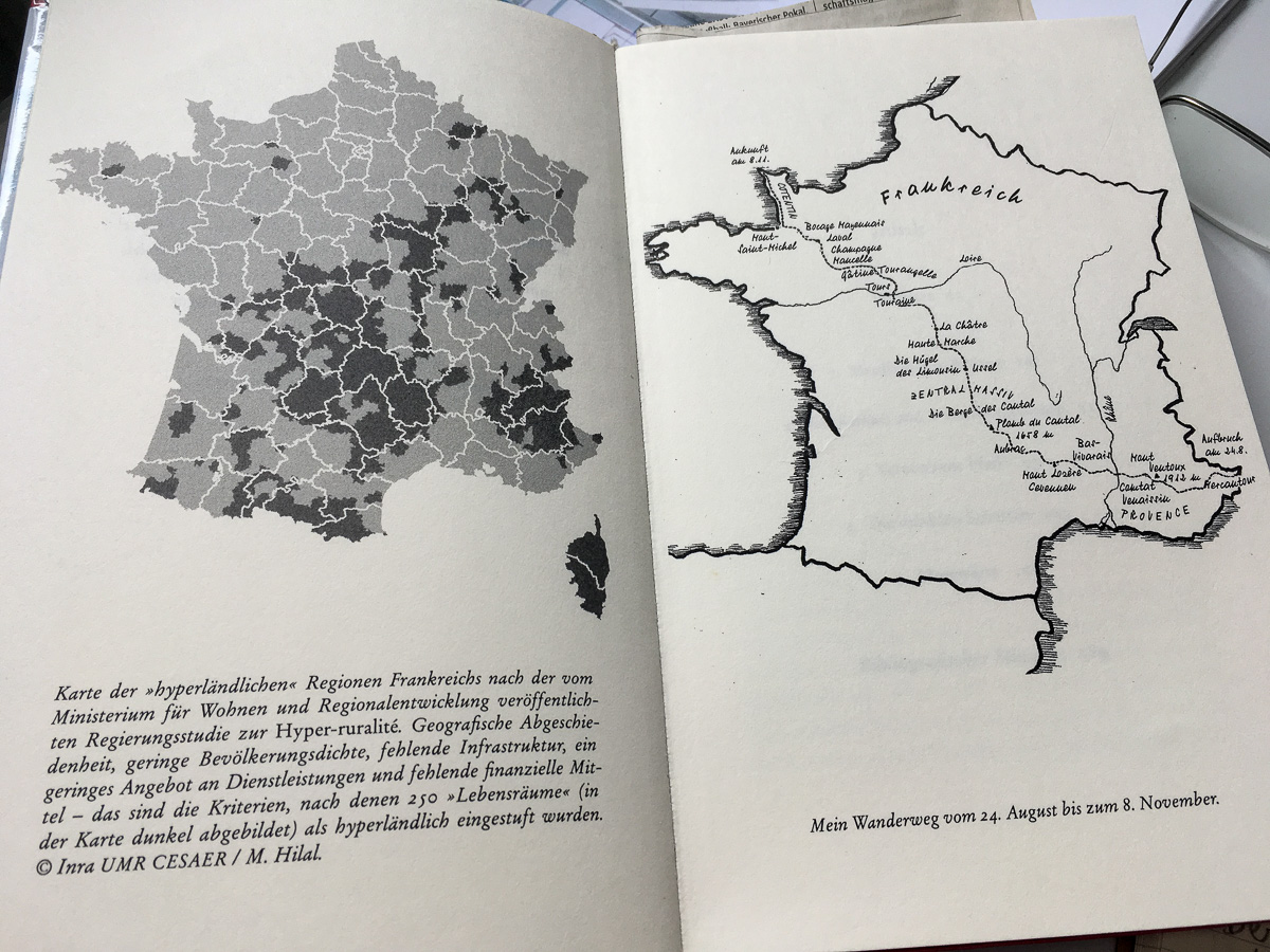 Die hyperländlichen Regionen Frankreichs (dunkel markiert), rechts Tessons Route