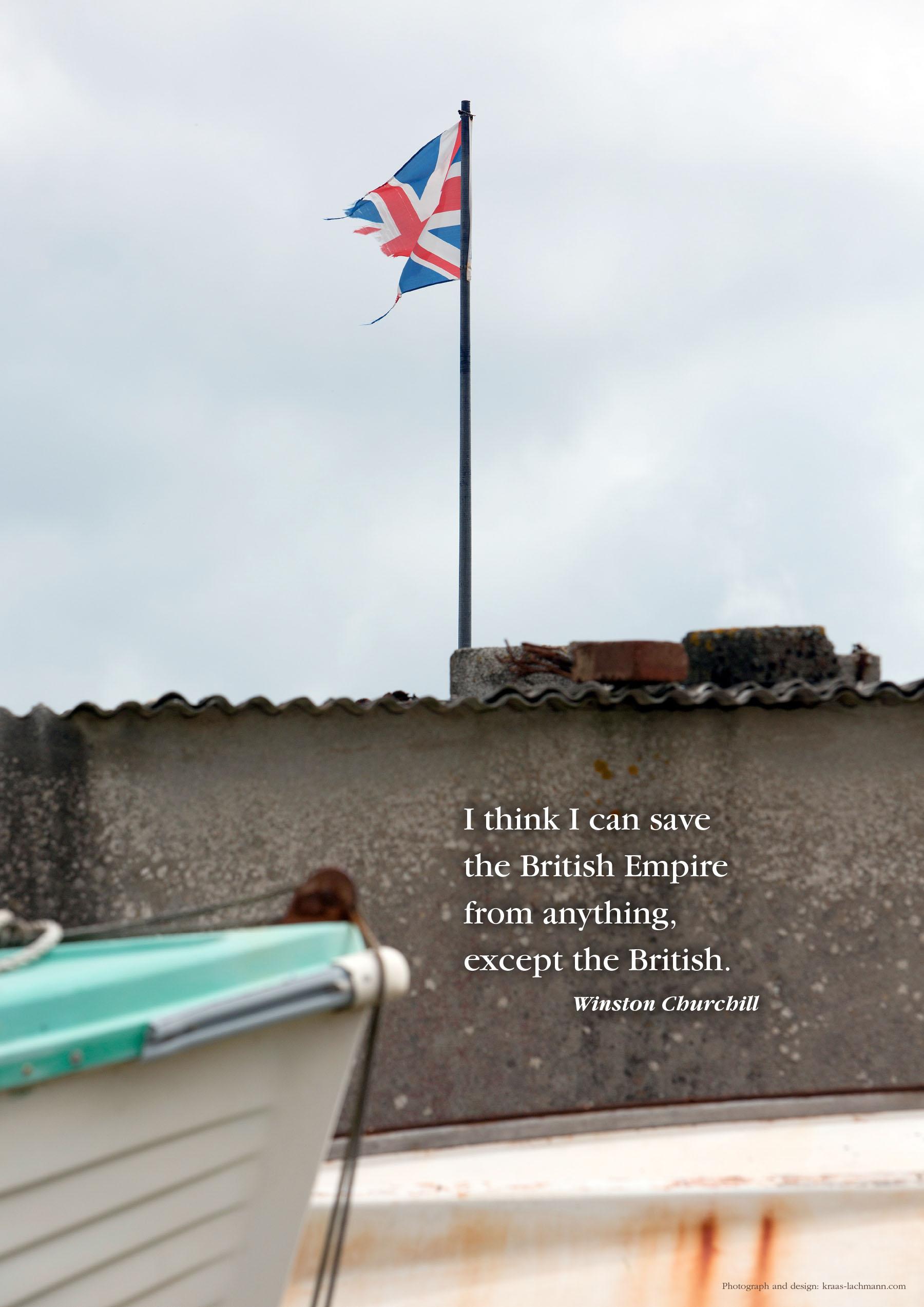 Stürmische Zeiten in Großbritannien, Union Jack in Beesands, Devon. Foto: Kraas & Lachmann