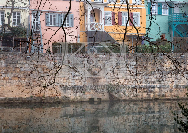 Schöne Postkarte Nr. 228 · Kahle Äste greifen nach den bunten Häusern am Neckar. © 2018