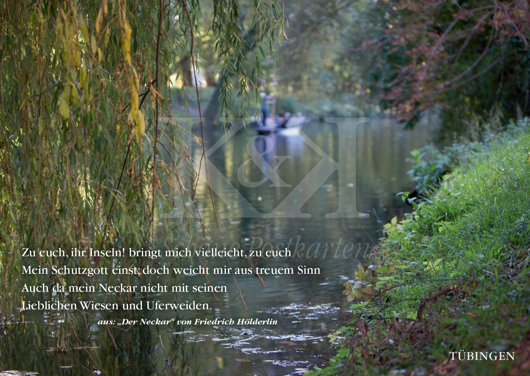 Auch da mein Neckar: Stocherkahn am Hölderlinturm, Tübingen am Neckar | Schöne Postkarte Nr. 198 ·