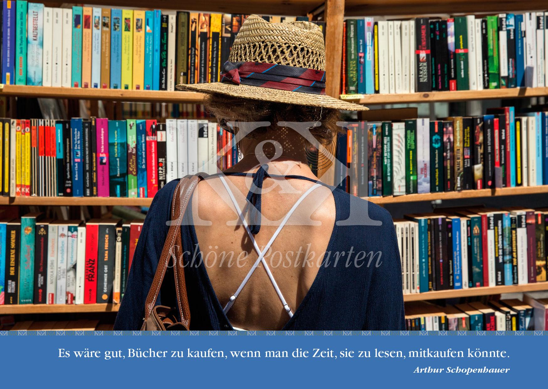 Schöne Postkarte Nr. 230 · Tübinger Bücherfest: Rücken an Rücken · © www.schoenepostkarten.de