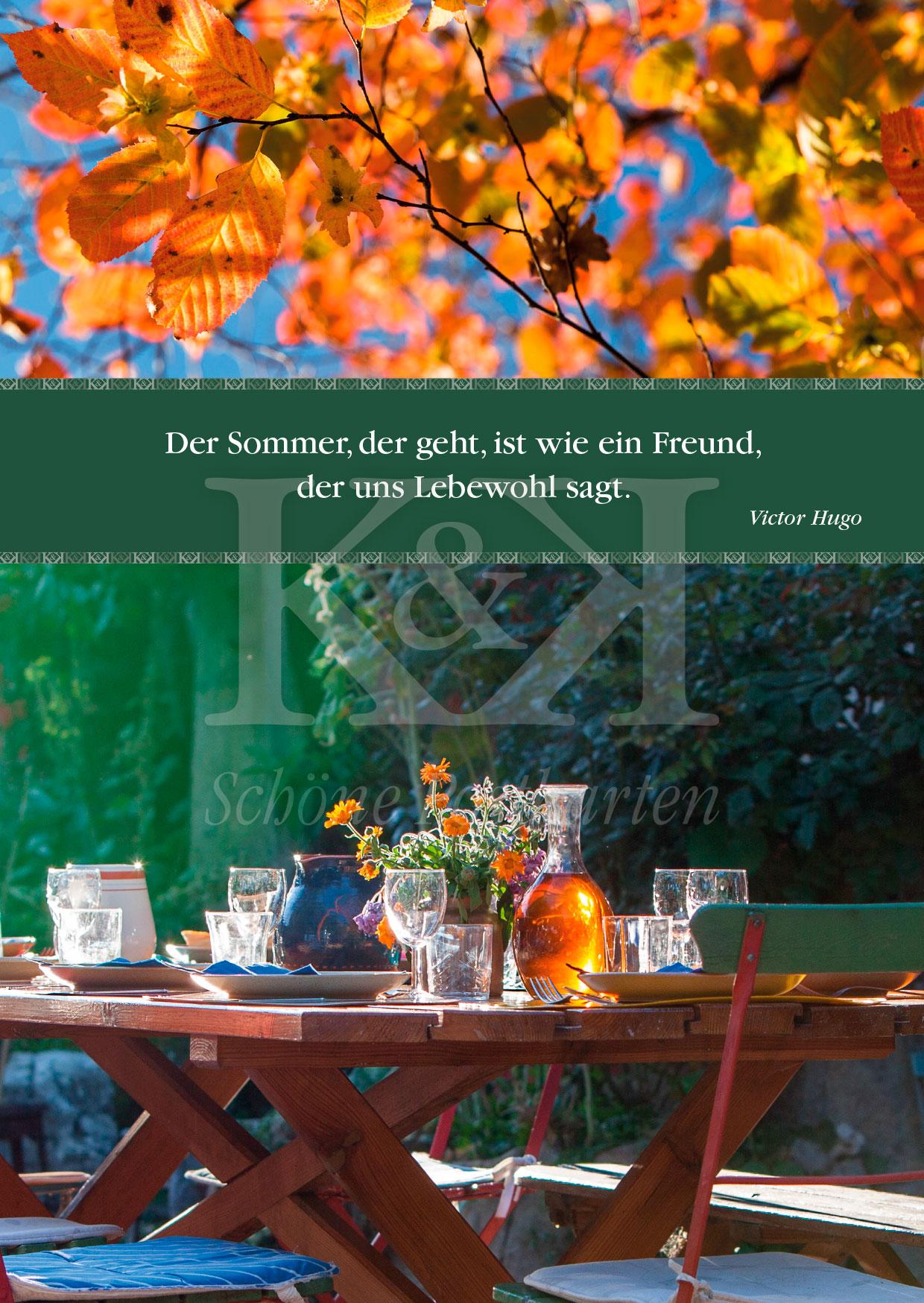 Der Sommer, der geht. Victor Hugo · Schöne Postkarte · Nr. 4 · © www.schoenepostkarten.de