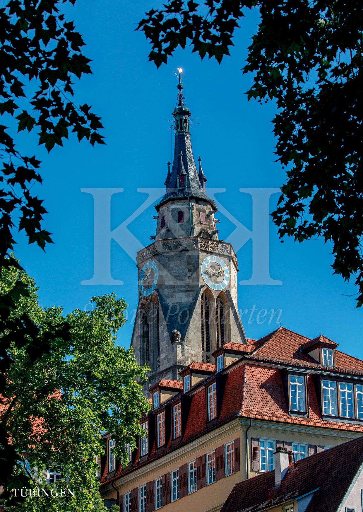 Schöne Postkarte Nr. 116 · Stiftskirche Tübingen, davor die Alte Aula der Universität · © www.schoenepostkarten.de