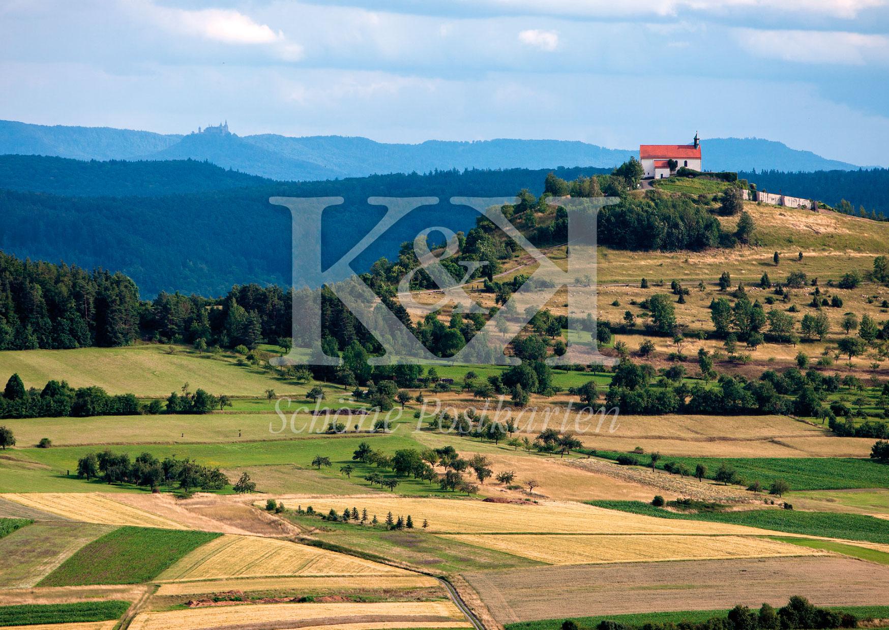 Schöne Postkarte Nr. 219 · Wurmlinger Kapelle und Burg Hohenzollern vor der Schwäbischen Alb © 2018