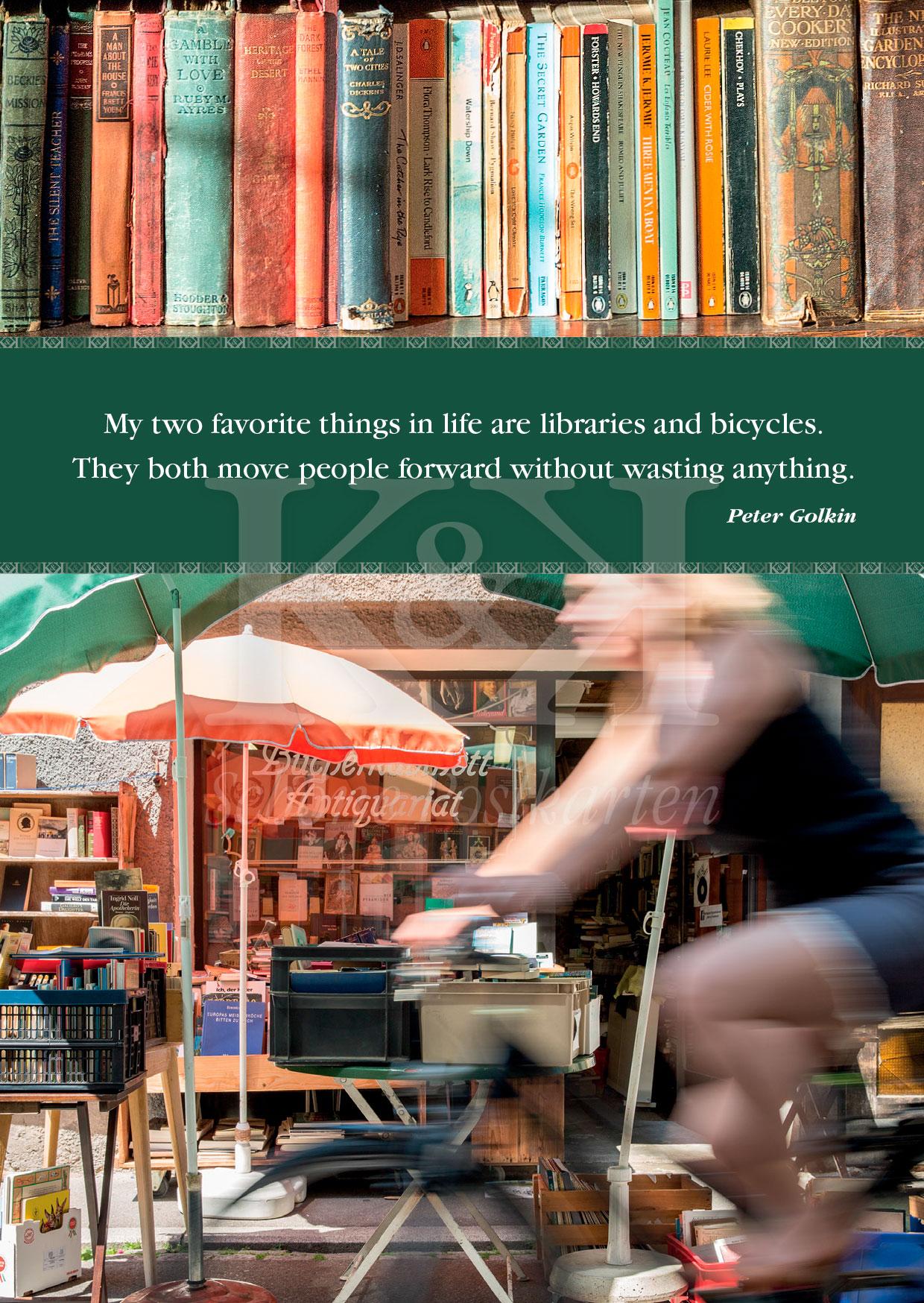 Schöne Postkarte Nr. 42 · Bücher und Fahrräder – gehören in Tübingen · © www.schoenepostkarten.de
