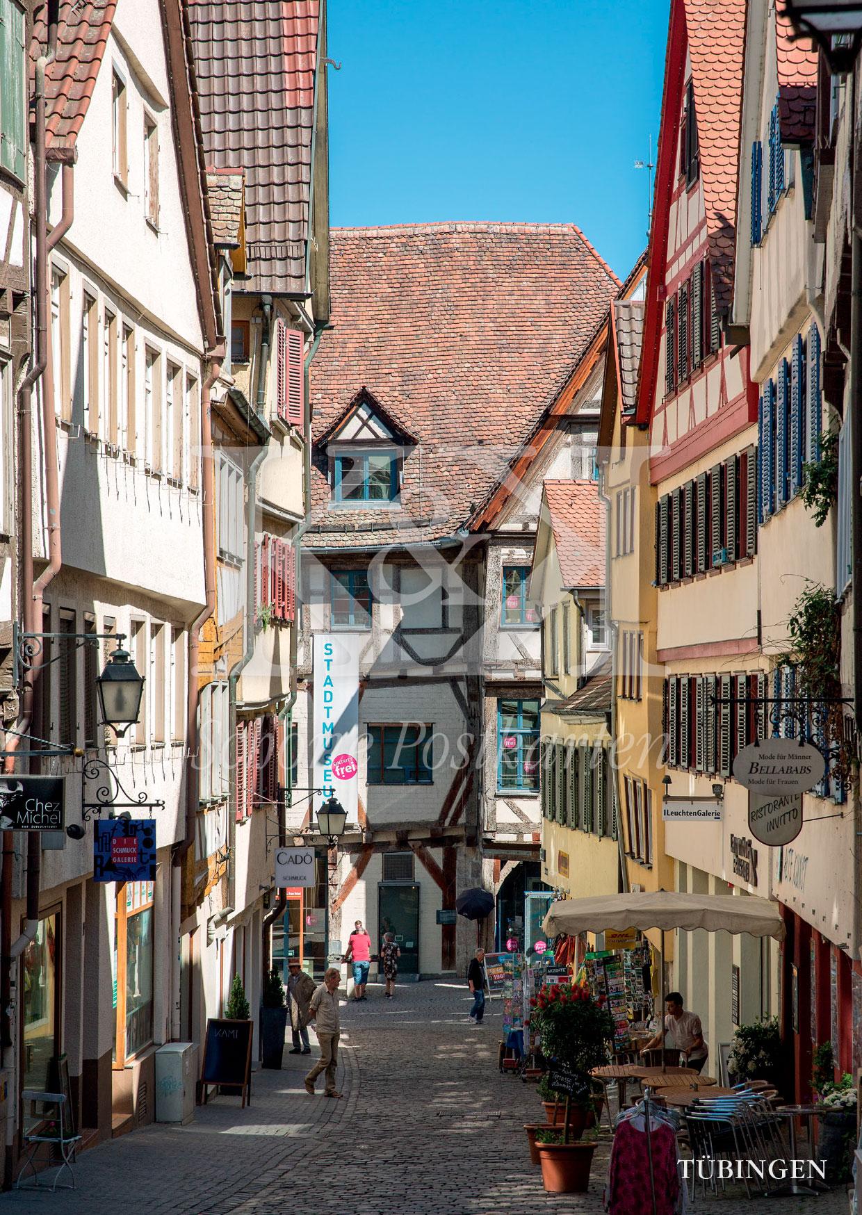 Schöne Postkarte Nr. 58 · Marktgasse in Tübingen · © www.schoenepostkarten.de