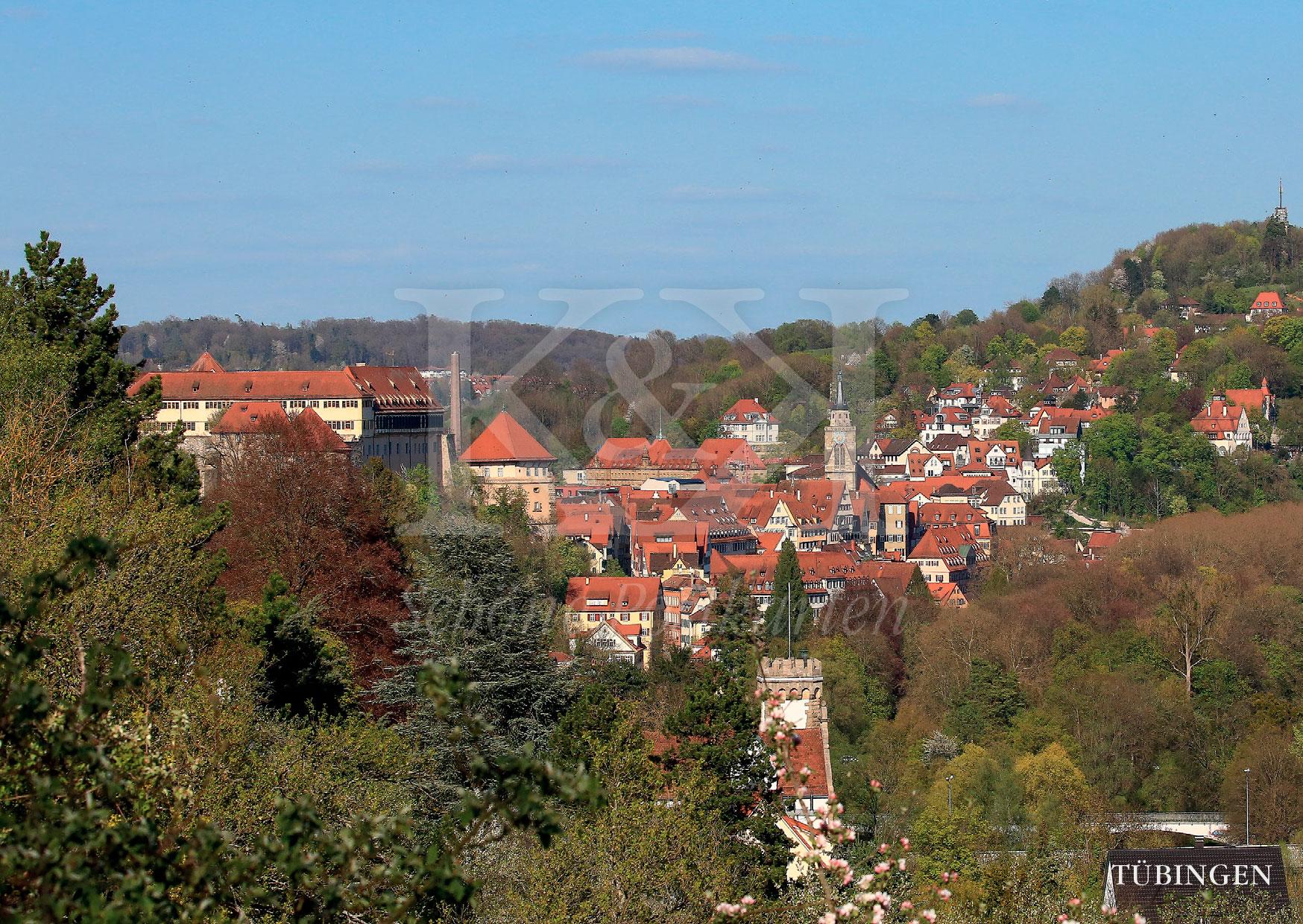 Schöne Postkarte Nr. 6 · Tübinger Altstadt mit Stiftskirche, Schloss und Österberg · © www.schoenepostkarten.de