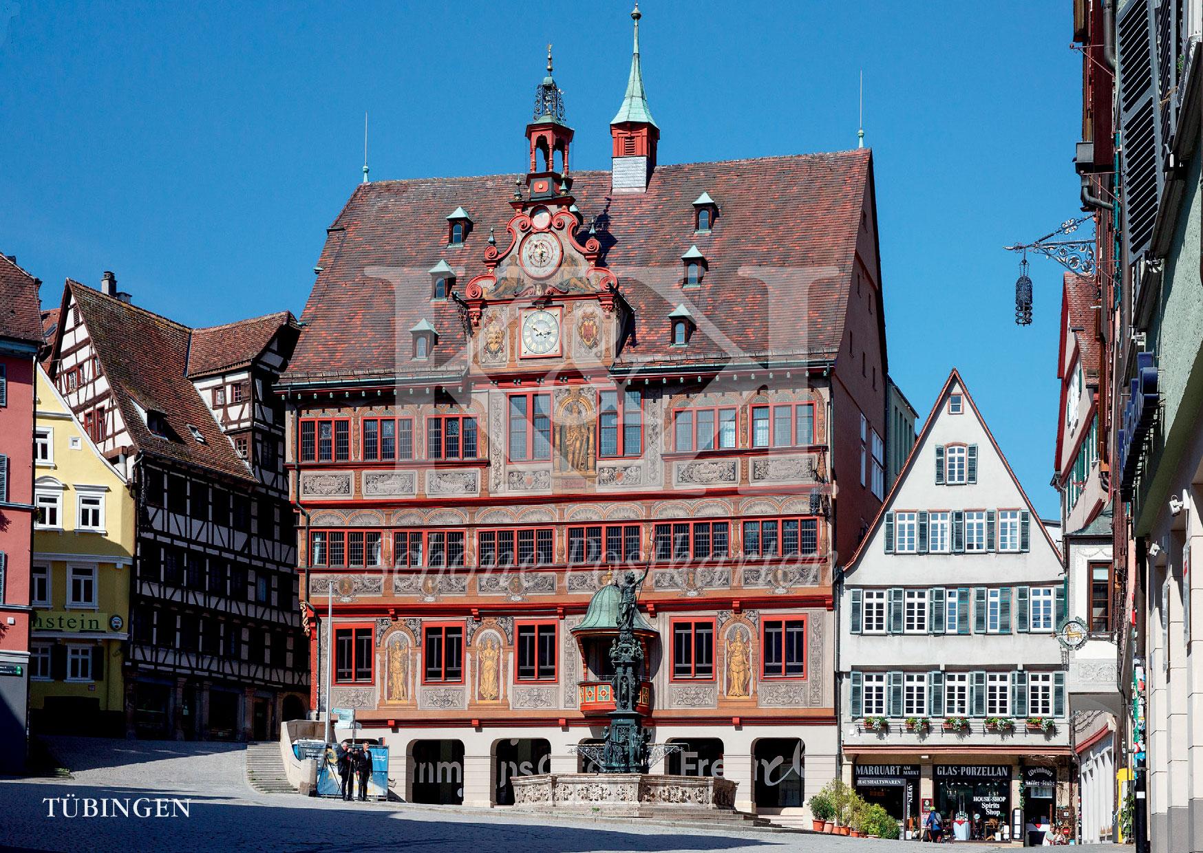Schöne Postkarte Nr. 81 · Rathaus Tübingen, ab 1435 gebaut und mehrfach erweitert · © www.schoenepostkarten.de