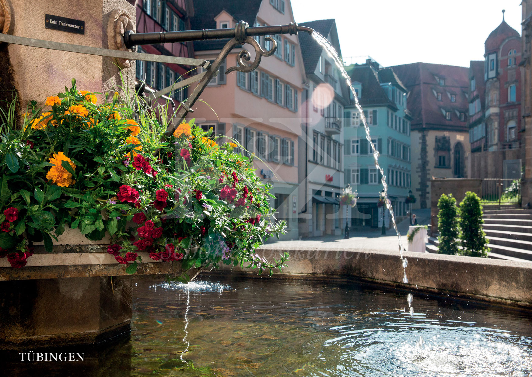 Schöne Postkarte Nr. 91 · Georgsbrunnen am Holzmarkt in Tübingen · © www.schoenepostkarten.de