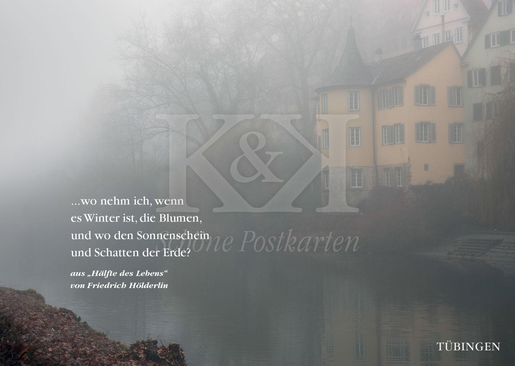 Ohne blauen Himmel, dafür poetisch. Hölderlinturm im Neujahrsnebel. © www.schoenepostkarten.de