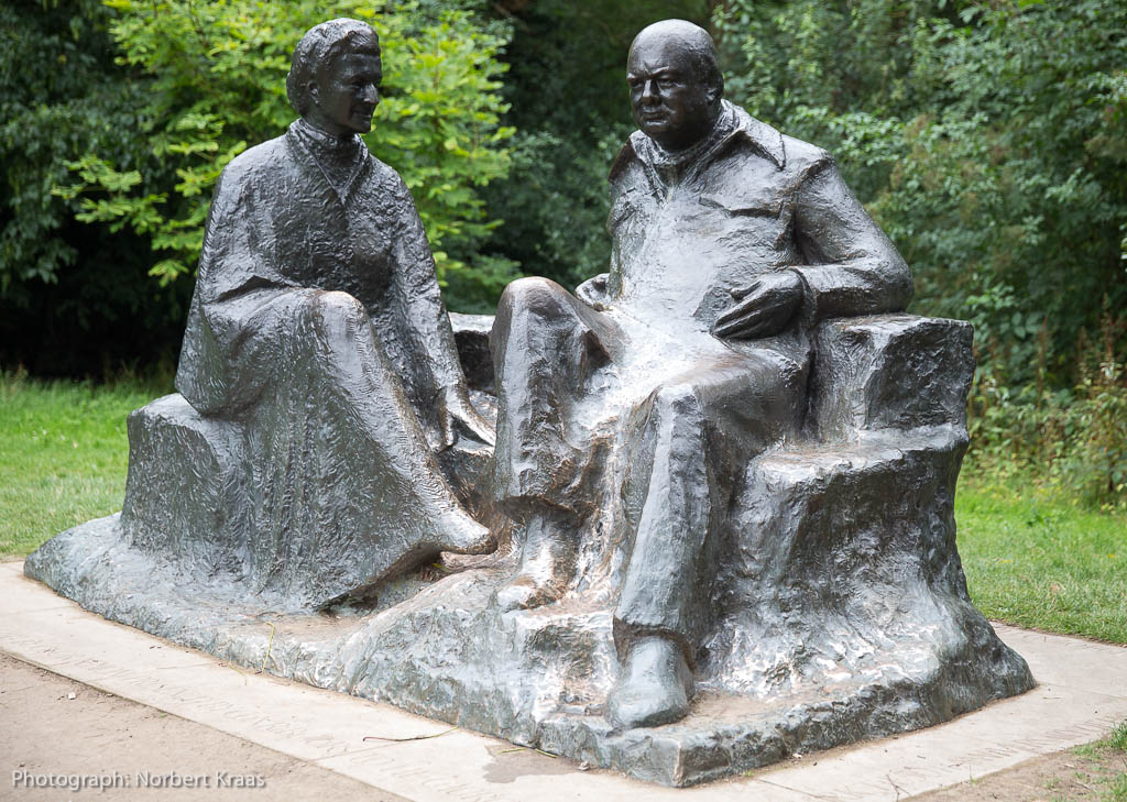 Statue of Clementine and Winston Churchill in Chartwell, Churchill's home in Kent. Photograph: Norbert Kraas